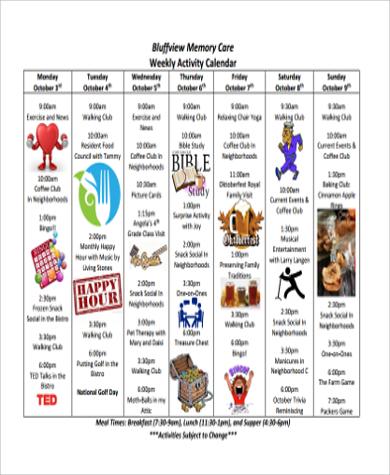 Unique Activities Calendar Template Embellishment Resume Ideas