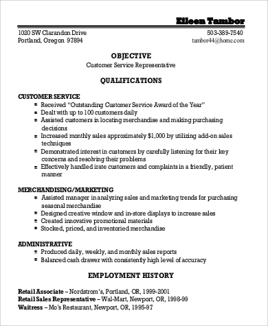 General Objective For Resume Customer Service