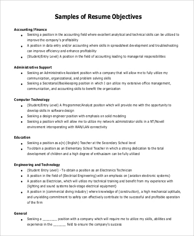 sample general objective for resume examples in pdf