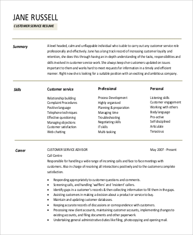 Customer Service Professional Summary For Resume