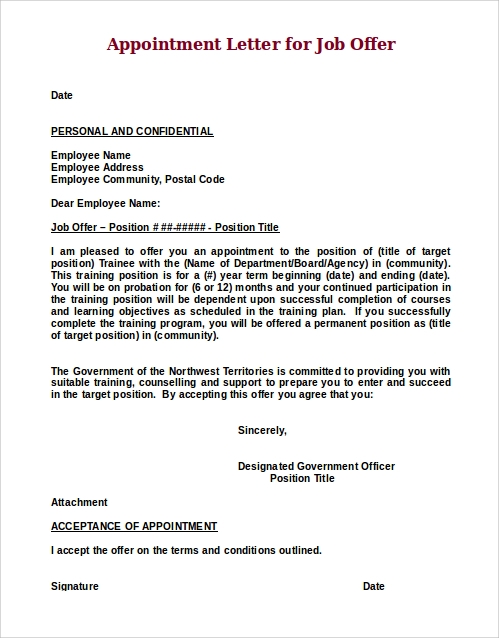 Job offer letter sample 8 examples in word pdf appointment letter for job offer thecheapjerseys Image collections