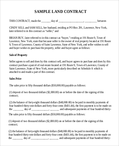 real estate land contract form