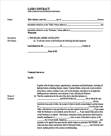 Sample Land Contract Form   Examples In Word Pdf