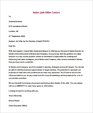 example of sales job offer letter