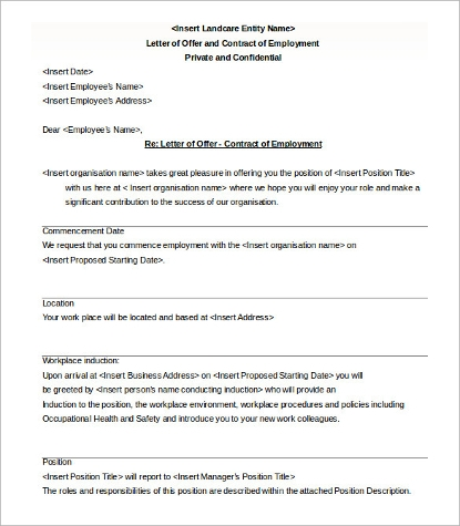 contract of employment job offer letter