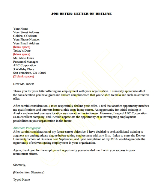 job offer letter sample