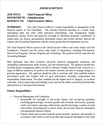 Chief Financial Officer Job Description Sample - 9+ Examples In
