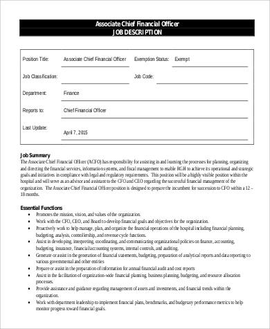 associate chief financial officer job description