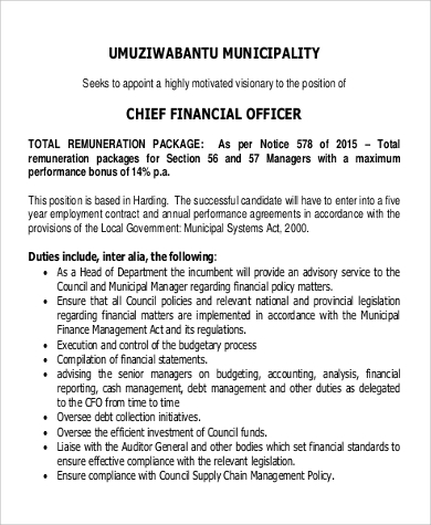 Chief Financial Officer Job Description Sample   Examples In Word