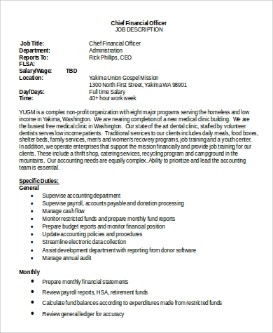 chief financial officer job description in word