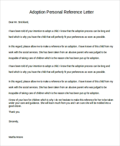 9 personal reference letter samples sample templates for Letter of recommendation for adoption template