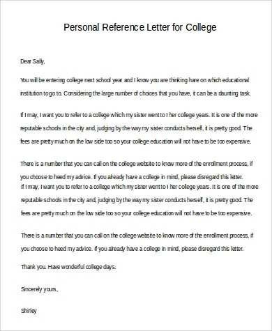personal reference letter for college