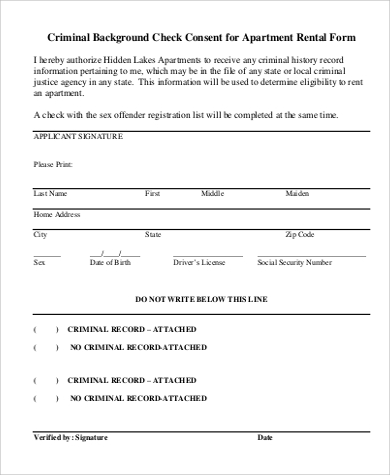 Criminal Background Check Consent For Apartment Rental Form