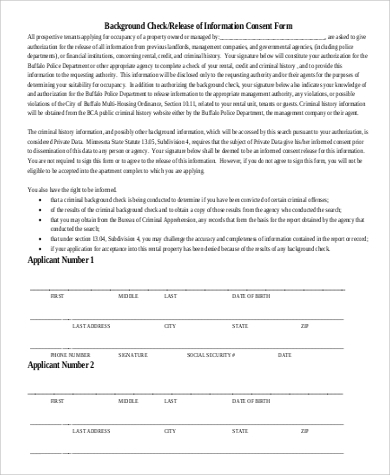 rental background check consent form