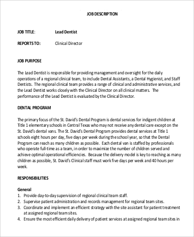 Sample Dentist Job Description - 9+ Examples in PDF