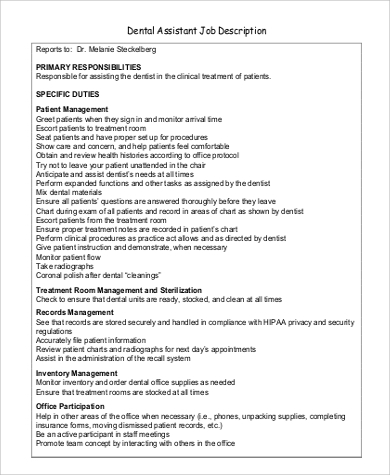 Attractive Dentist Assistant Job Description In PDF