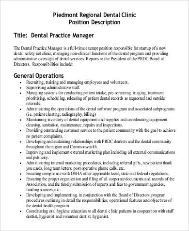 piedmont regional dental clinic job description