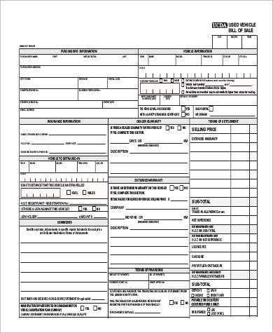Sample Car Bill Of Sale Pdf   Examples In Pdf