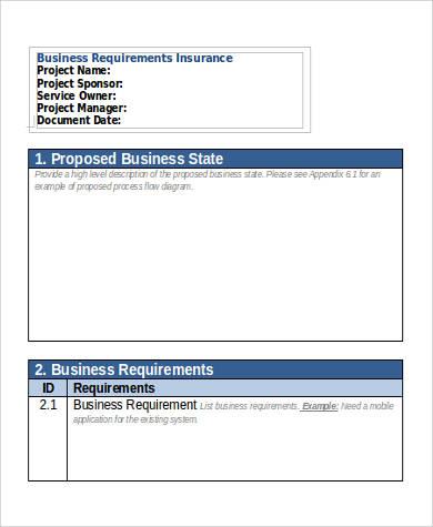 insurance business requirement document