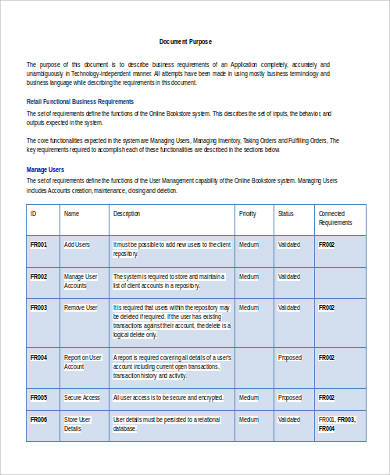 Business Requirement Sample Document   Examples In Word