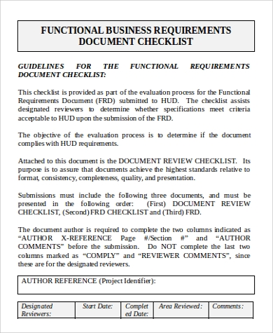 business requirement document checklist