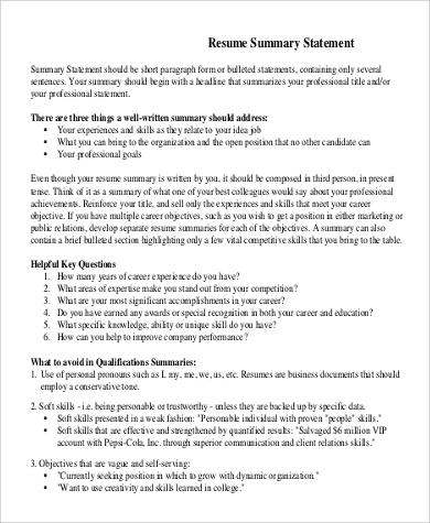 Free 9 Resume Summary Statement Samples In Ms Word Pdf