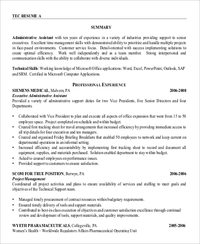 Resume Summary Statement Examples Administrative Assistant - Template