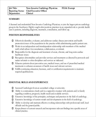 Sample Cardiologist Job Description   Examples In Pdf