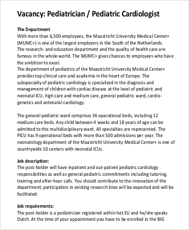 pediatric cardiologist job description