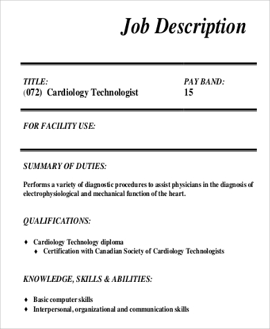 cardiologist technologist job description