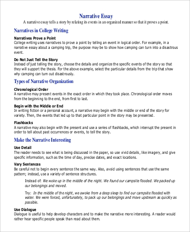 narrative speech outline template - 9 college essay examples sample templates