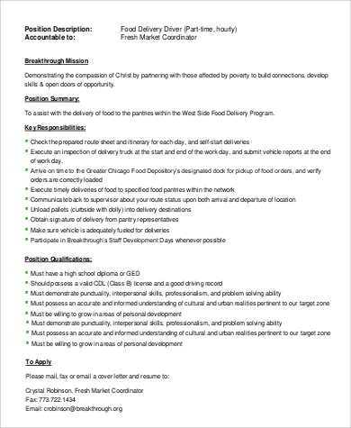 Sample Delivery Driver Job Description - 9+ Examples in Word, PDF