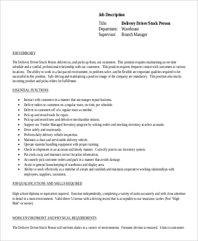 stock delivery driver job description pdf