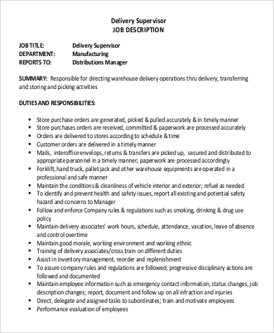 delivery driver supervisor job description