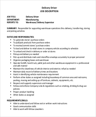 delivery driver description and duties and personal
