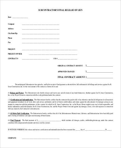 sub contractor release of lien form