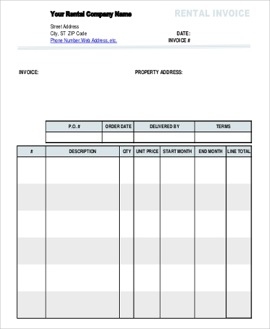 rental invoice sample