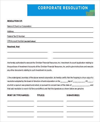 blank corporate resolution form sample