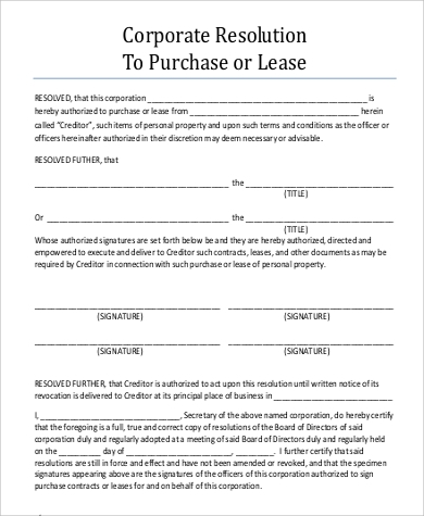 corporate resolution form to purchase