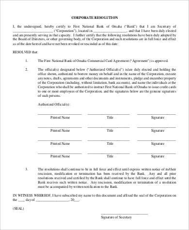corporate resolution form example