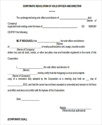 free corporate resolution form format