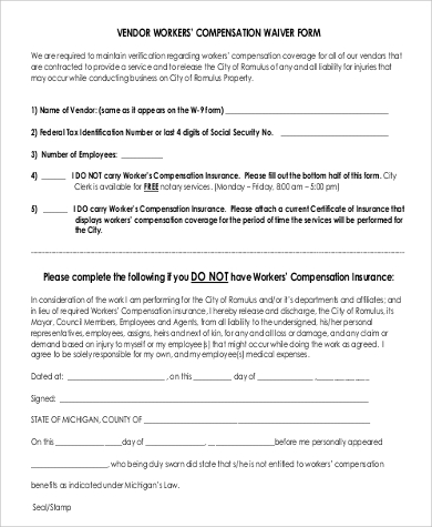 vendor waiver of workers compensation form
