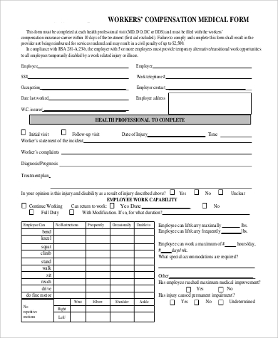 workers compensation medical form