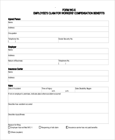 Sample Workers Compensation Form - 9+ Examples In Word, Pdf