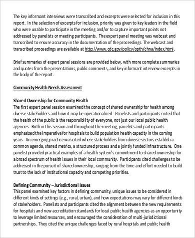 Needs assessment example 9 samples in pdf community health needs assessment in pdf pronofoot35fo Images
