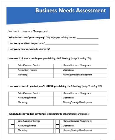 business needs assessment form