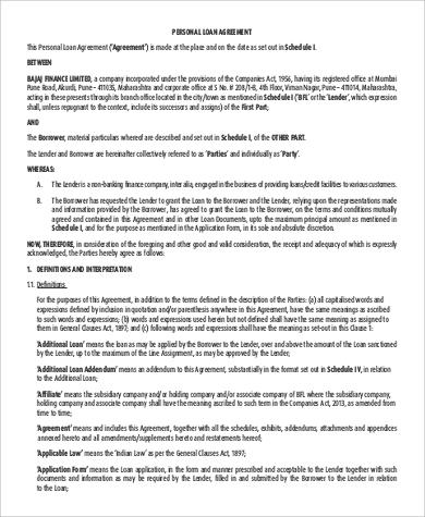 standard personal loan agreement