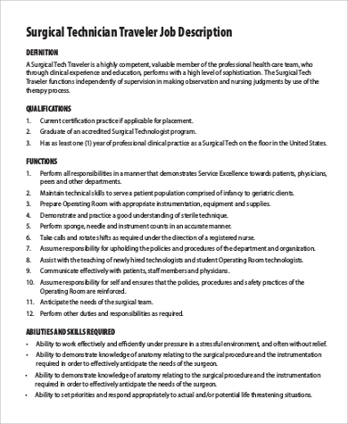 Sample Surgical Tech Job Description   Examples In Pdf