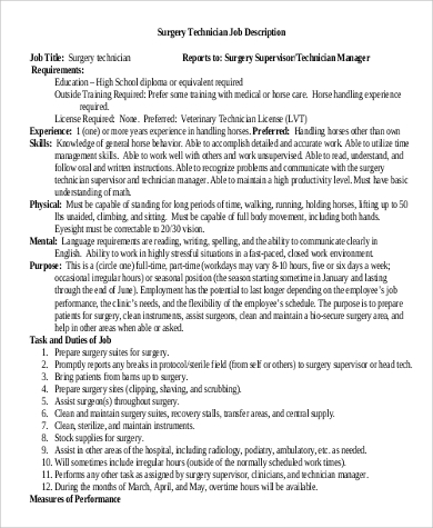 Sample Surgical Tech Job Description 8 Examples In Pdf