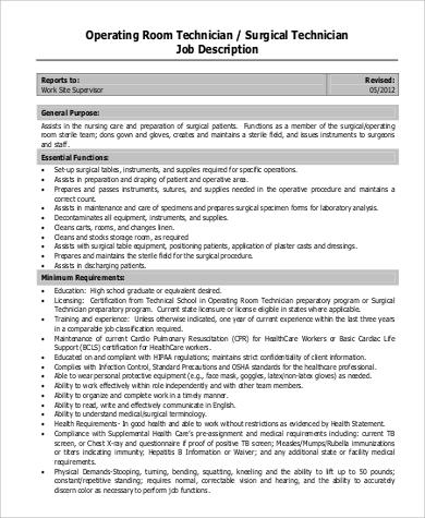 Sample Surgical Tech Job Description - 8+ Examples in PDF